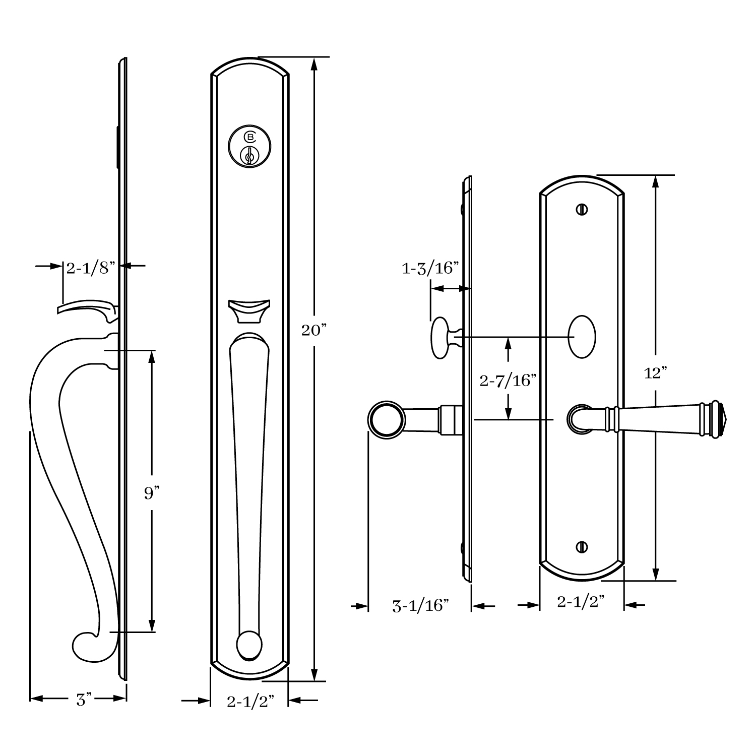 13010 Chautauqua Entrance Handle Set