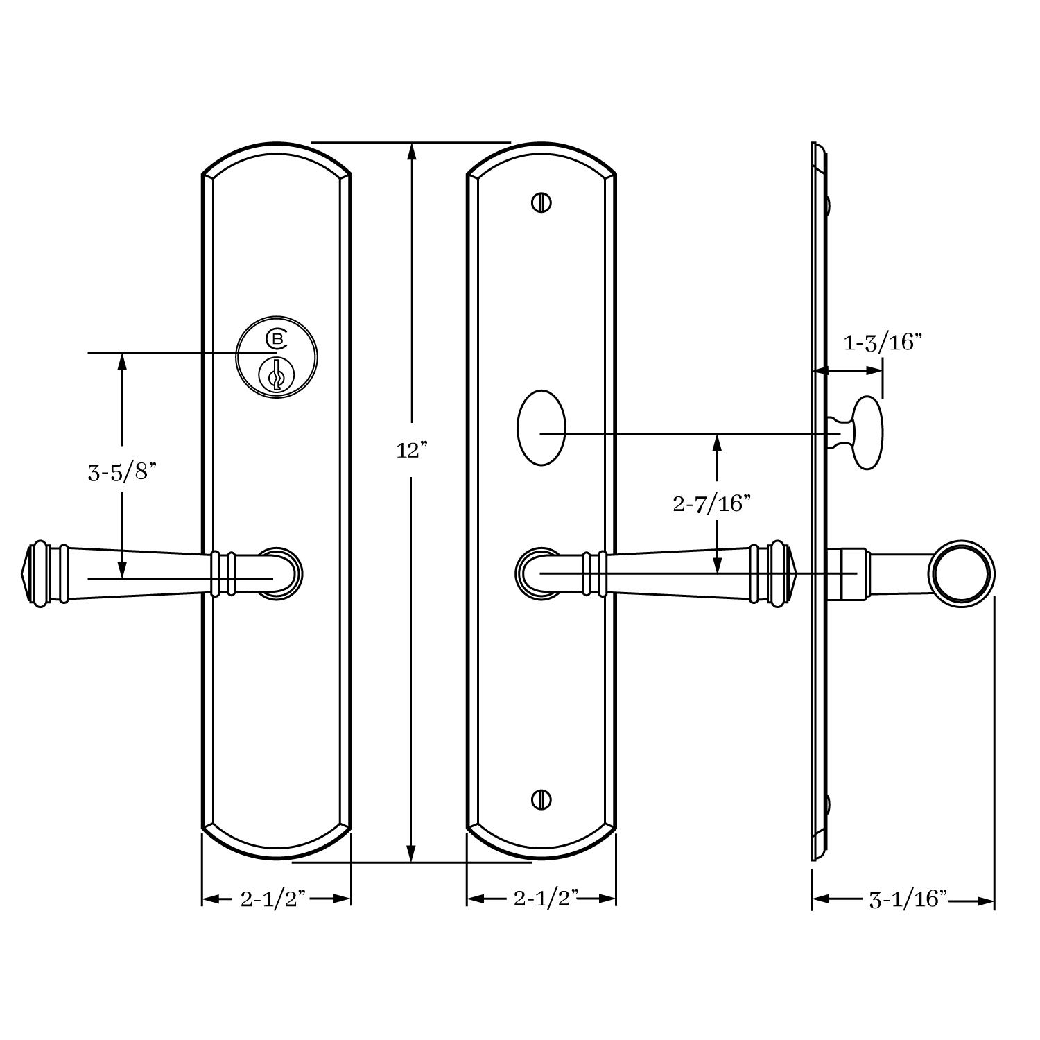 13156 Chautauqua Entrance Lever Set