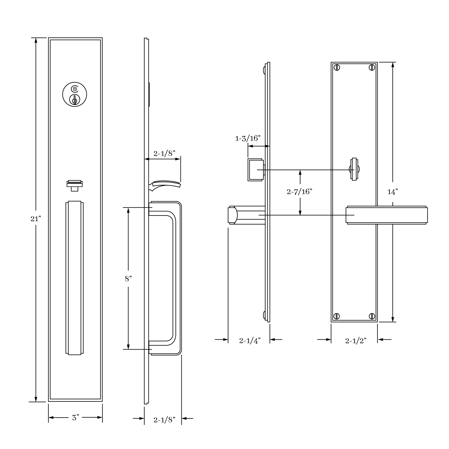 7600 Fifth Avenue Entrance Handle Set