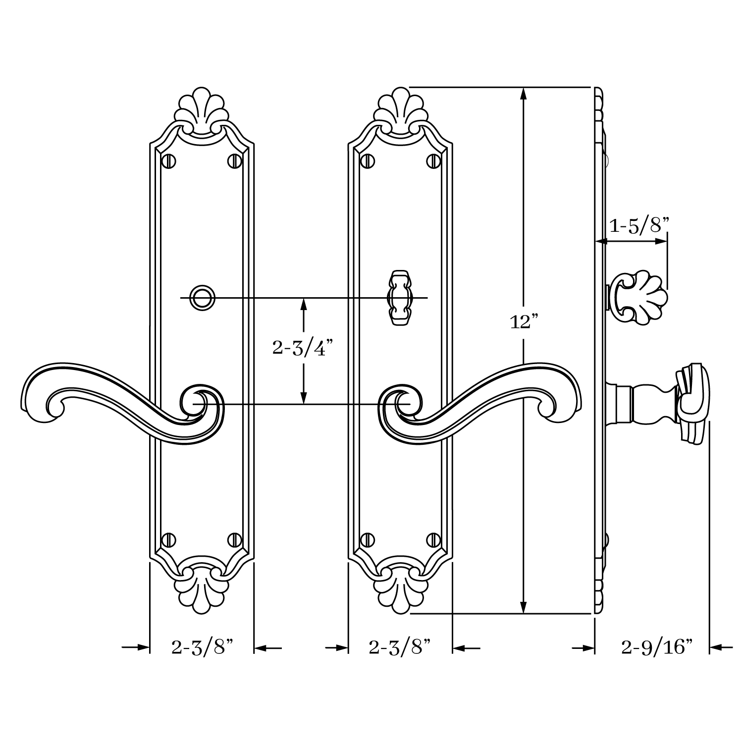 8231 Savannah Lever and Escutcheon